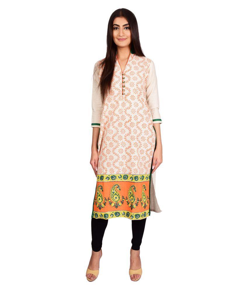 Stylefident Multicoloured Khadi Straight Kurti