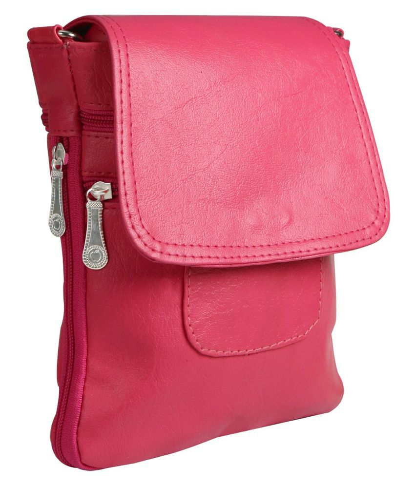 Crude Pink Faux Leather Sling Bag