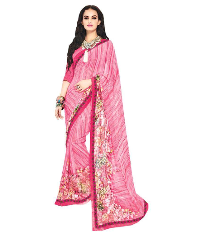 Kumaran Silks Pink Georgette Saree
