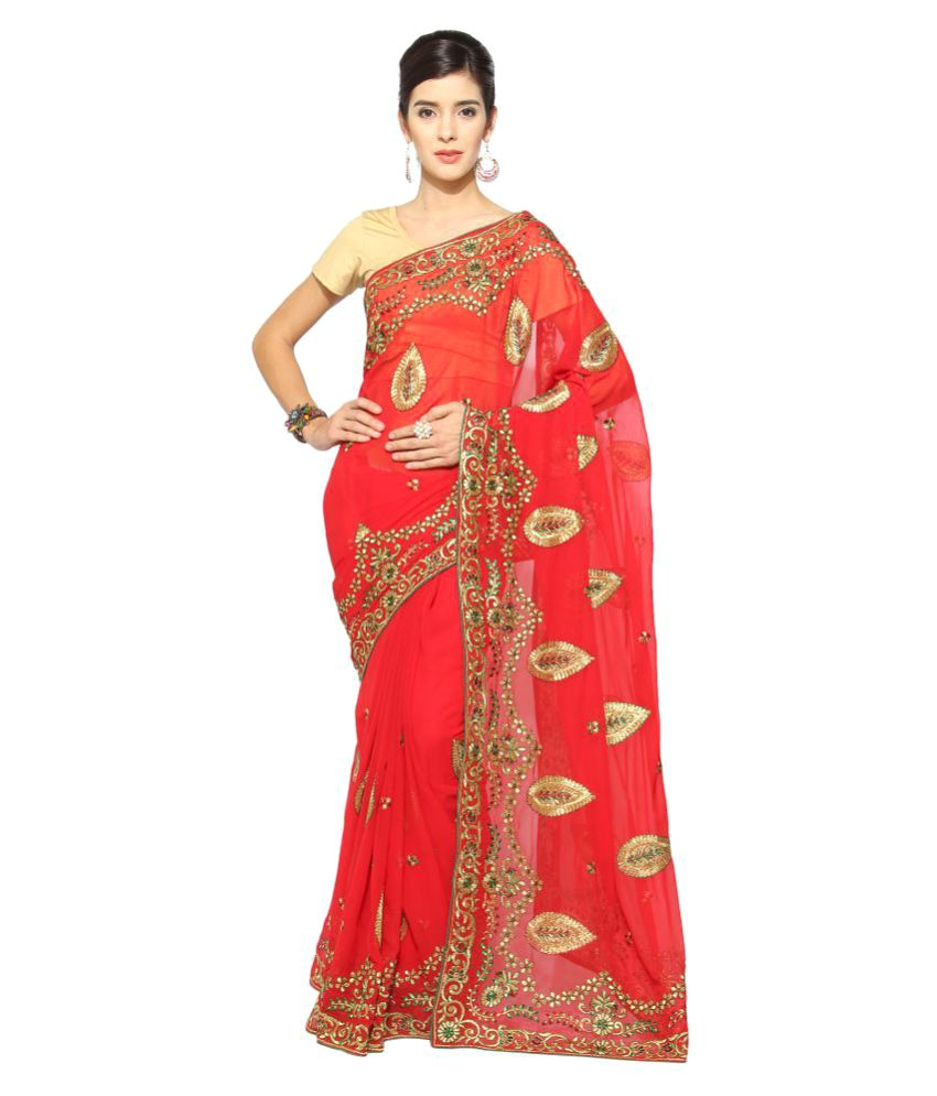 Today Deal Red Chiffon Saree