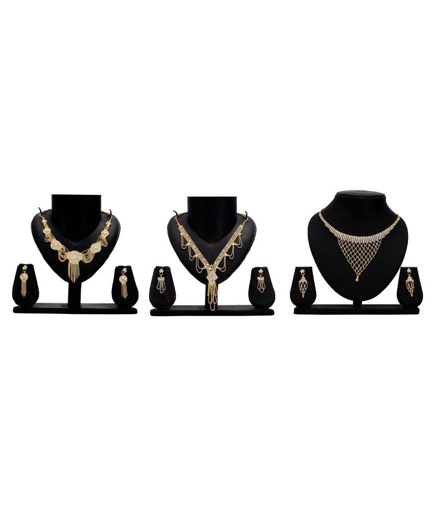Gopalvilla Presents Set of 3 Golden Alloy Necklace Set