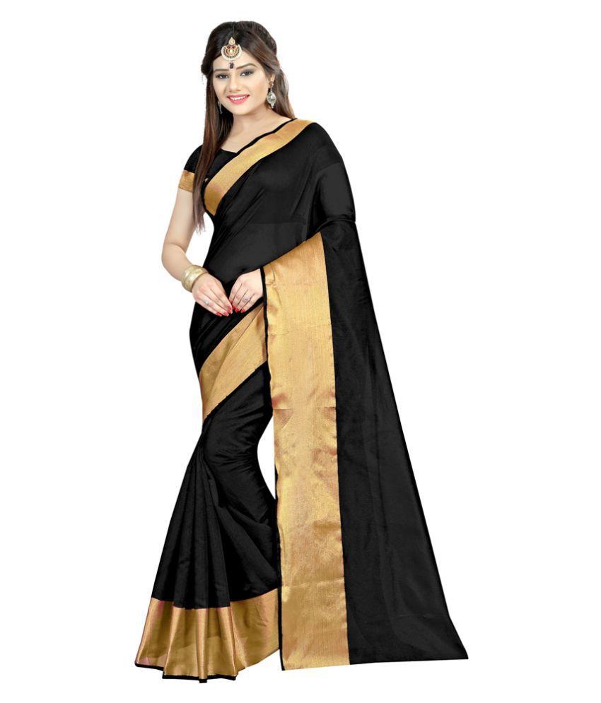 Radiance Star Black Cotton Silk Saree