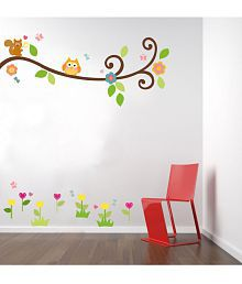 TMS Tree With Butterfly And Owls Vinyl Multicolour Wall Sticker - Pack Of 1