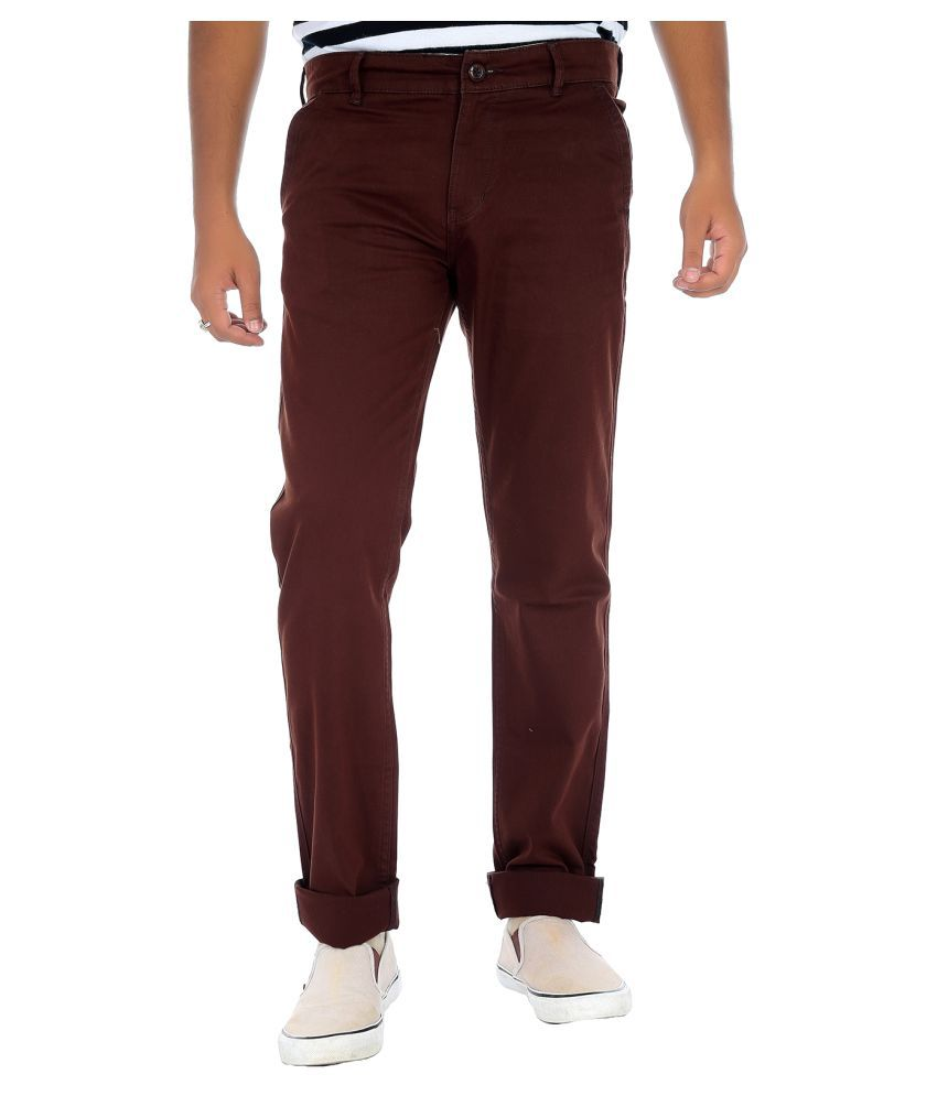 Fly Craft Coffee Regular -Fit Flat Chinos