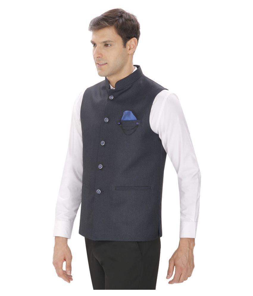 280d8e86002 Amador Fashions Blue Terry Rayon Nehru Jacket - Buy Amador Fashions ...