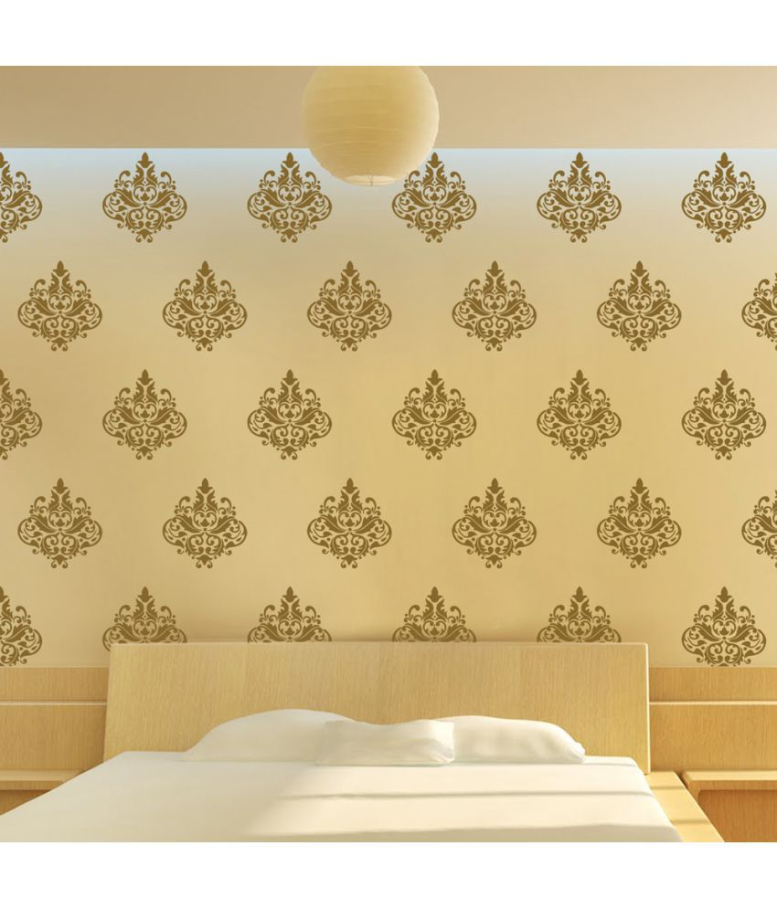Arhat Stensils Damask PVC Glossy Wall Sticker - Pack of 1 - Buy ...