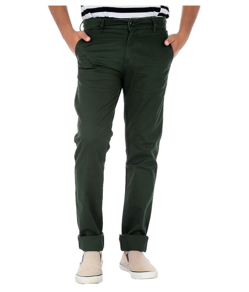 Fly Craft Olive Green Regular -Fit Flat Chinos