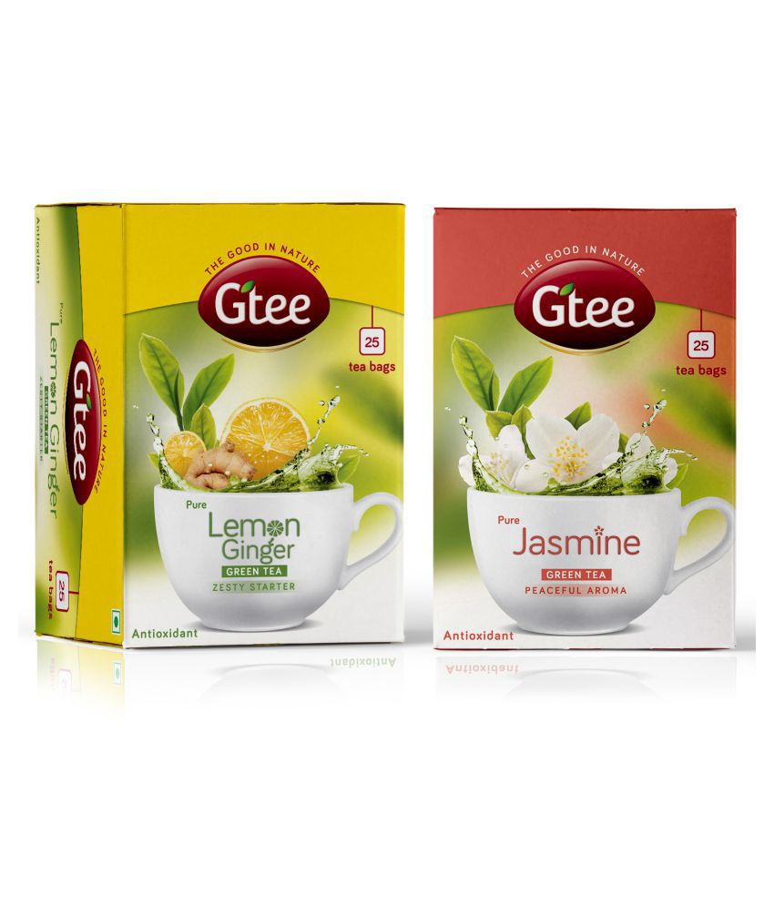 GTEE Green Tea with Jasmine and Lemon & Ginger with Green Tea Bags 50 no.s Pack of 2
