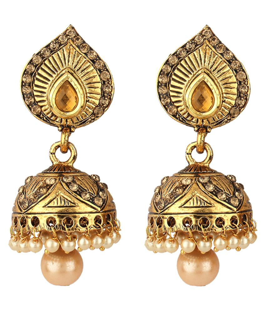 Jewels Gold Alloy Party Wear & Wedding Jhumkis for Women & Girls