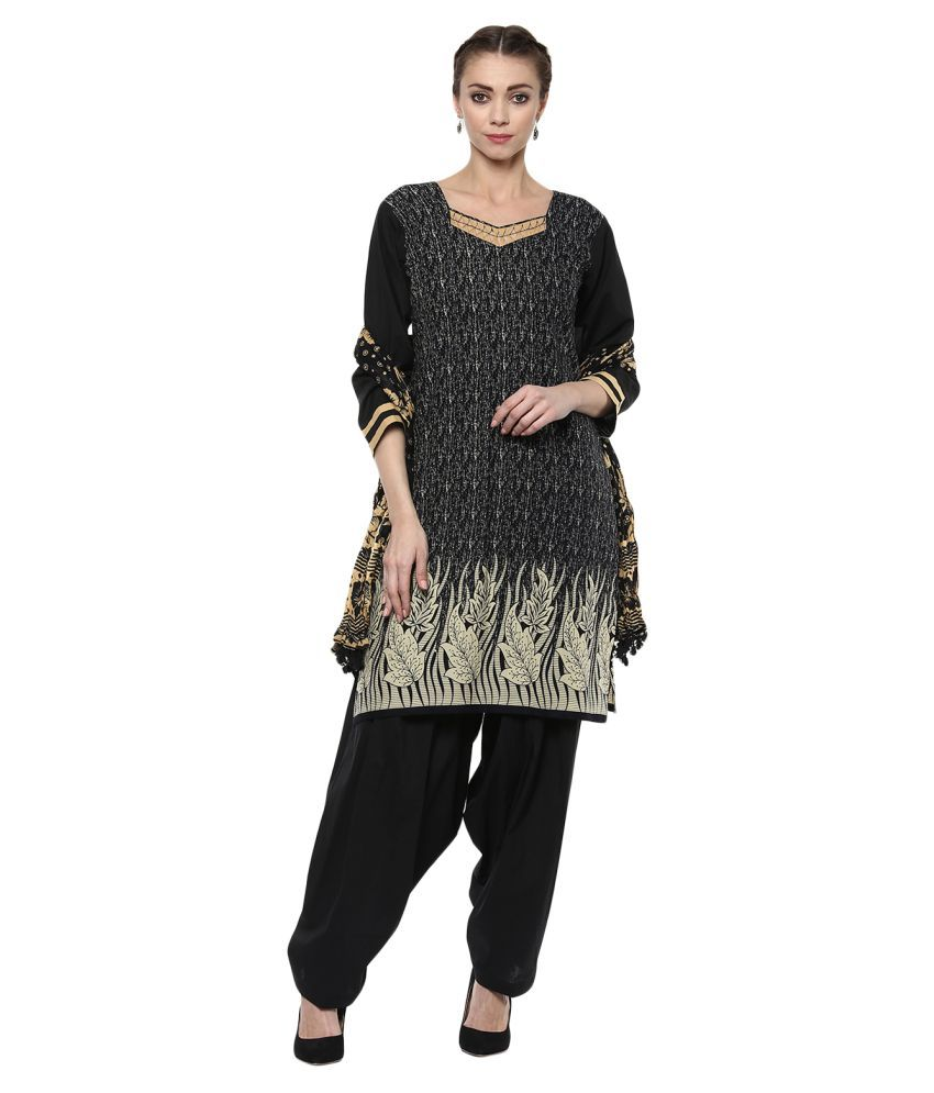 Laara Ethnic Wear Black Cotton Straight Stitched Suit