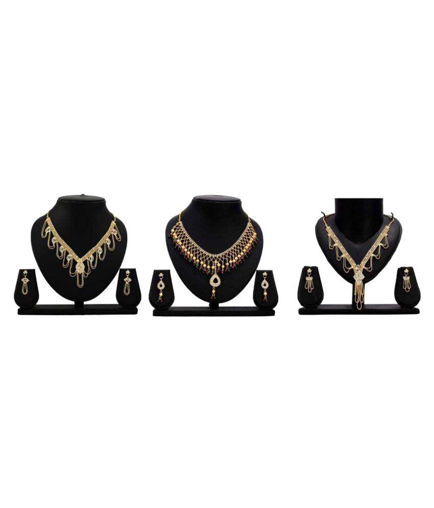 Dealseven Fashion Golden Color Alloy Set of 3 Necklace Sets