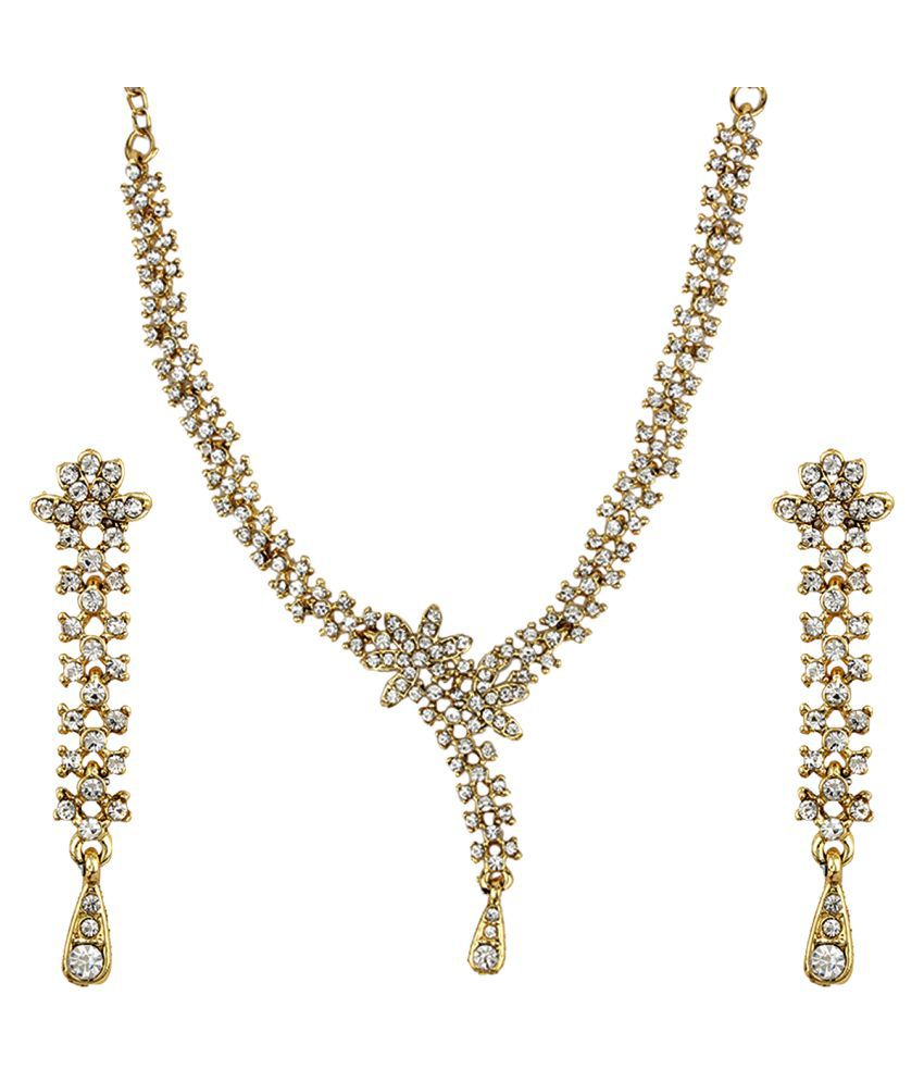 Jewels Gold Alloy Party Wear & Wedding Necklace Set For Women