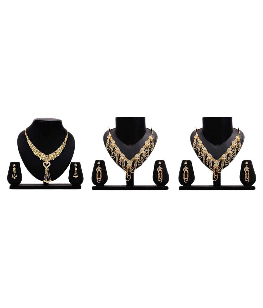 Bahucharaji Creation Presents Golden Color Alloy Set Of 3 Necklace Set