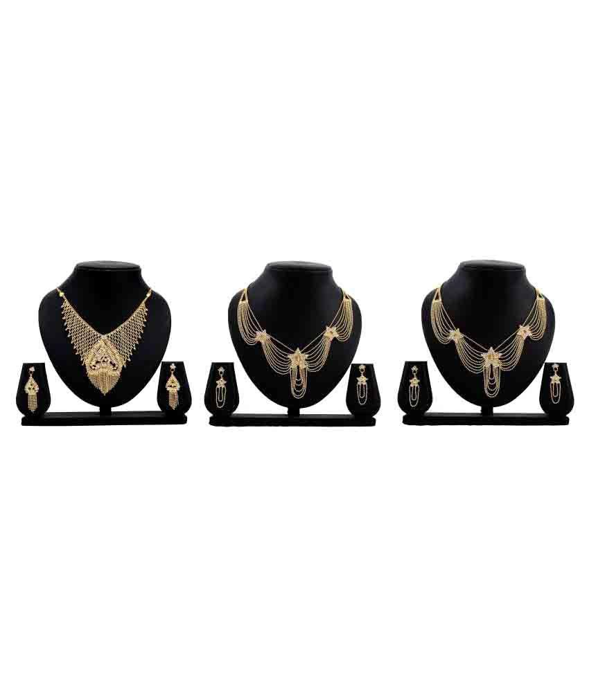 Dealseven Fashion Golden Alloy Set Of 3 Necklace Set