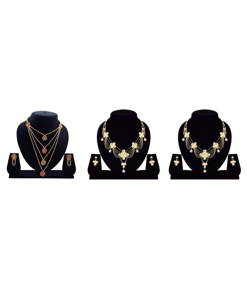 Dealseven Fashion Presents Golden Alloy Set of 3 Necklace Set