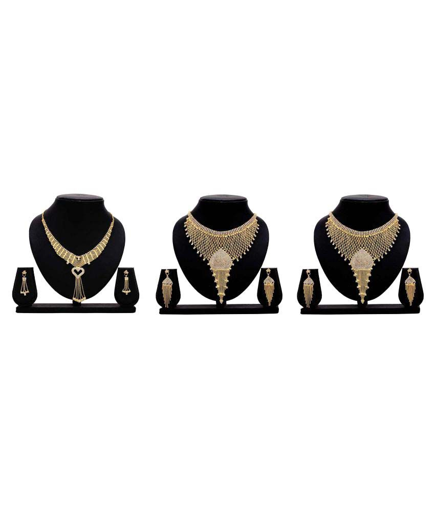 Dealseven Fashion Presents Golden Alloy Set of 3 Necklace set Combo