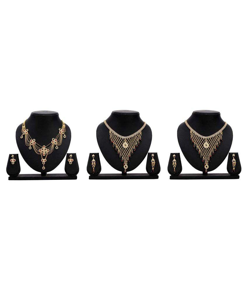 Dealseven Fashion Presents Multicolour Alloy Set of 3 Necklace Set