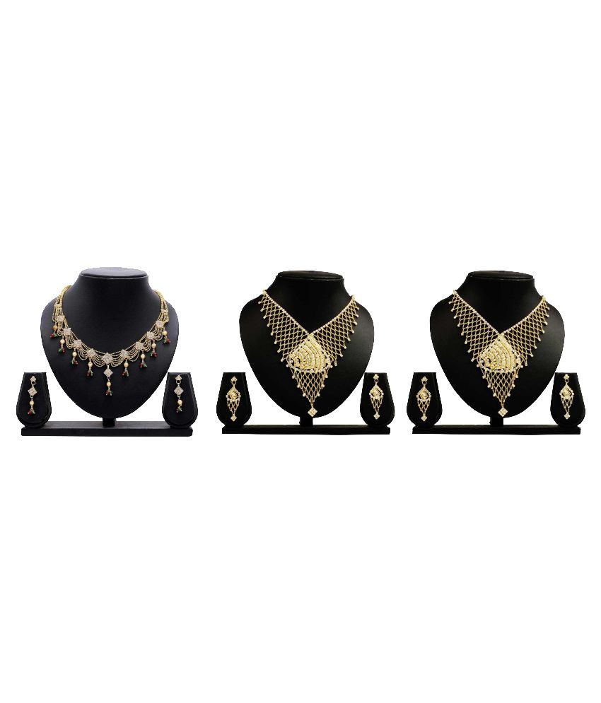 Gopalvilla Presents Golden Alloy Set of 3 Necklace Set