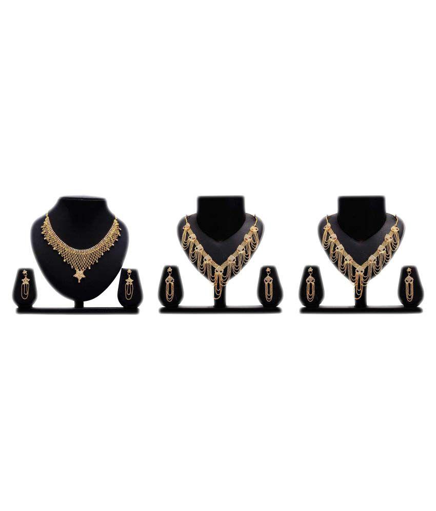 Gopalvilla Presents Golden Color Alloy Necklace Set Of 3 Combo