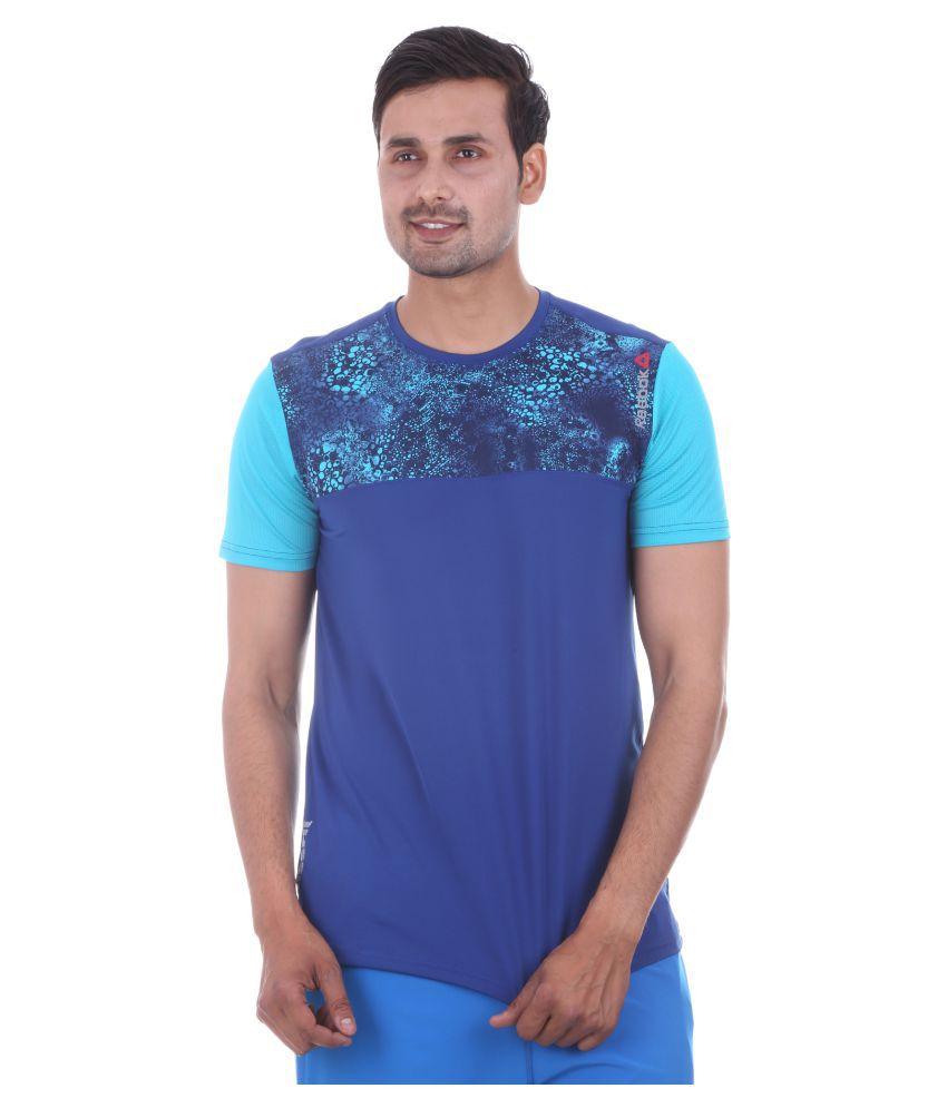 Reebok Blue Polyester T-Shirt