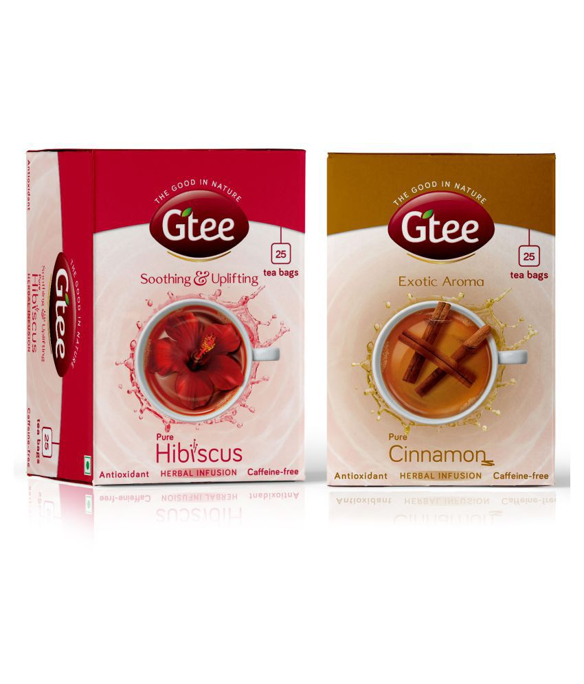 GTEE Hibiscus Tea and 100% NATURAL Cinnamon Tea Bags 50 no.s Pack of 2