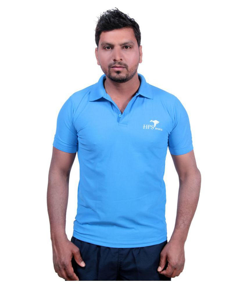 HPS Sports Sky Blue Cotton Blend Polo T-Shirt Single Pack