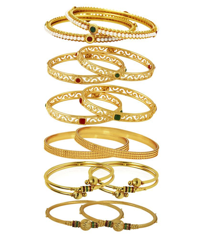 Jewels Galaxy Golden Bangle - Pair of 6