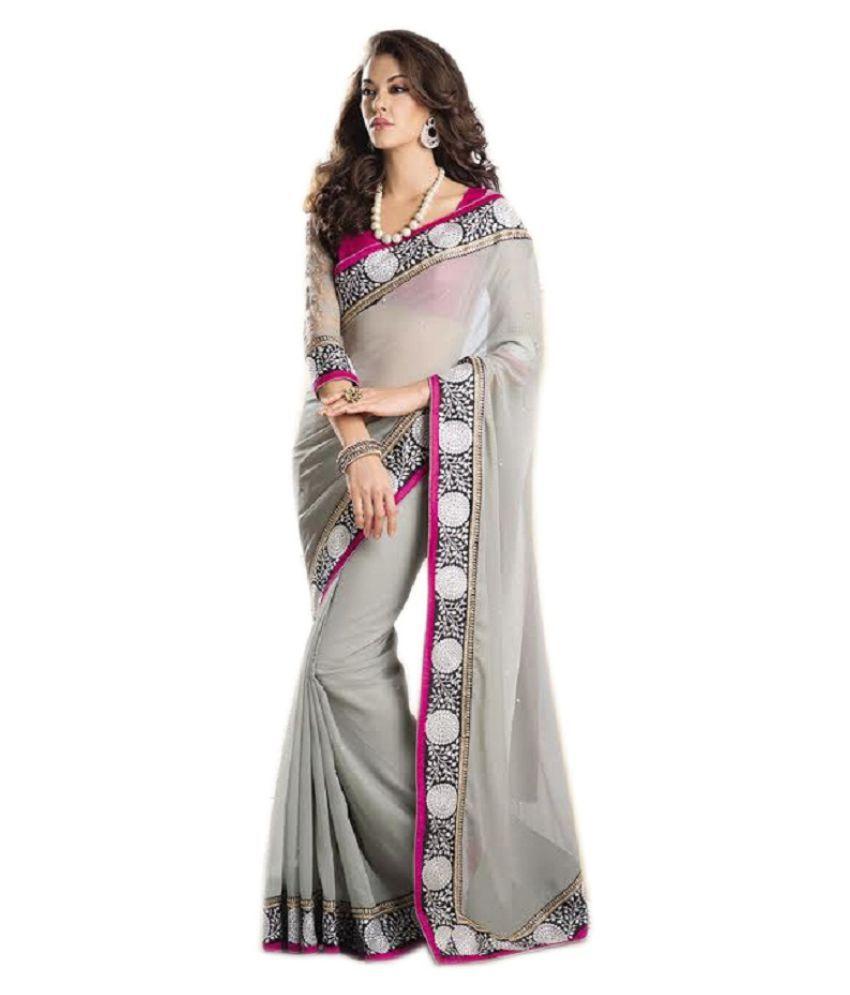 1c77a1b2c4 Kanak Sarees Silver Georgette Saree - Buy Kanak Sarees Silver Georgette  Saree Online at Low Price - Snapdeal.com