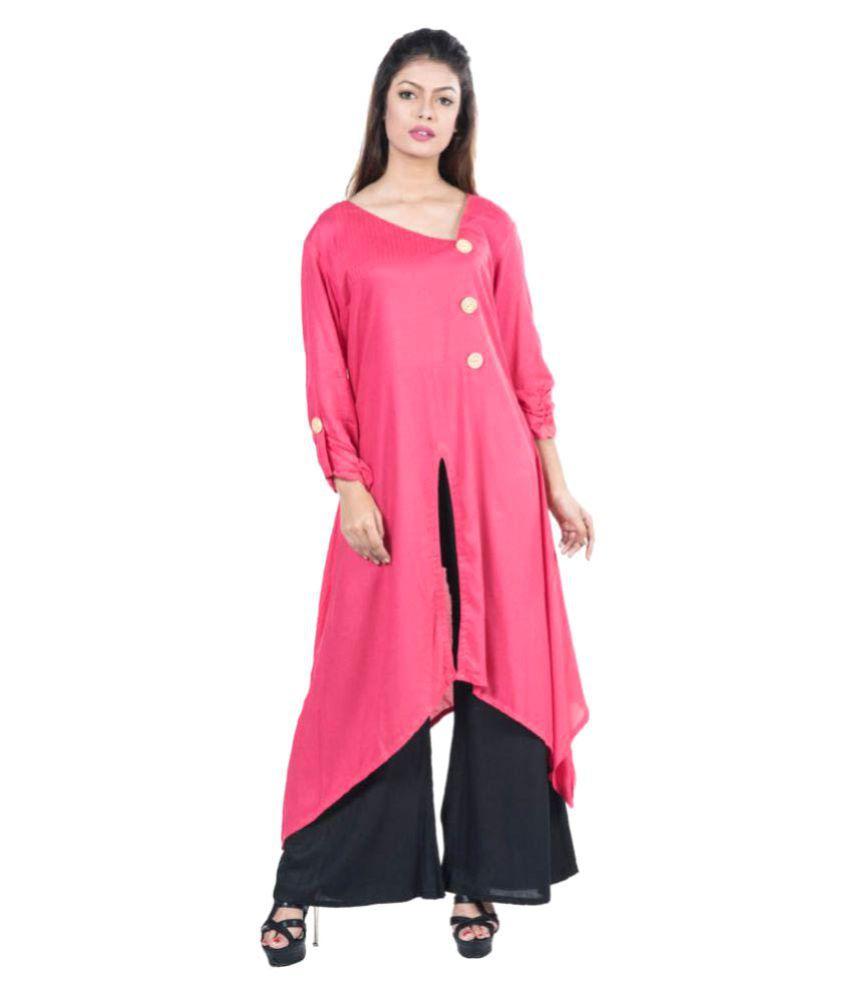 Mamosa Pink Rayon Asymmetrical Hemline Stitched Suit