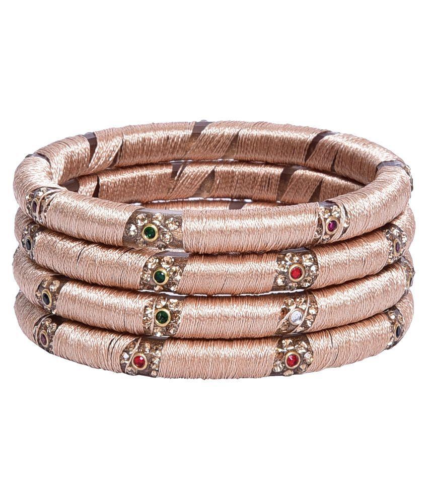 Sukriti Partywear Silk Thread Acrylic Beige Bangles - Set of 4