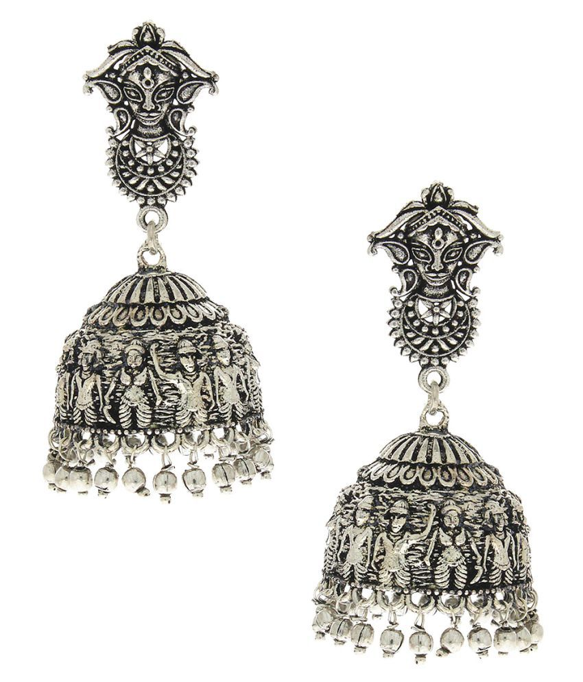 Anuradha Art Styled With Oxidized Finish Classy Wonderful Jhumki/Jhumkas Designer Traditional Earrings For Women/Girls