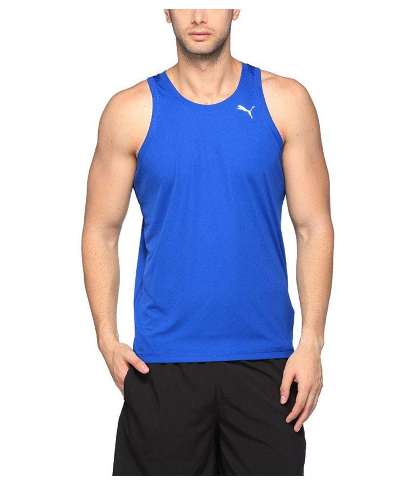 Puma Men's Round Neck Synthetic Sleveless T-Shirt