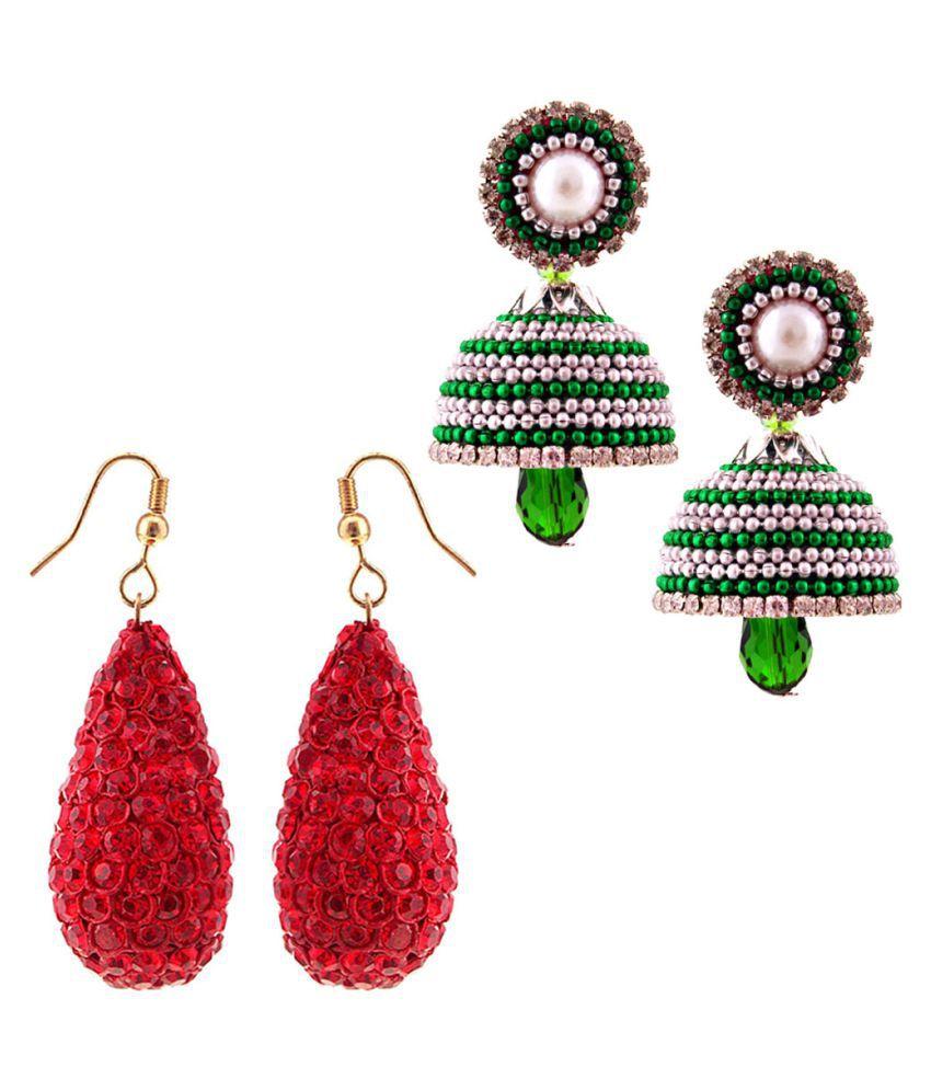 Shree Mangalam Mart  Combo of Two Handmade Multicolor Jhumki