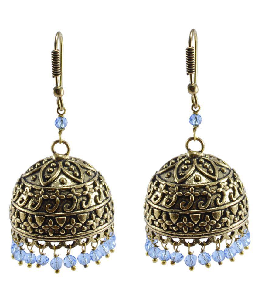 Antique finish Jaipuri Jhumka Earring- Tirbal Earrings Jewelry With Tanzanite Crystal Beads -Silvesto India PG-103844