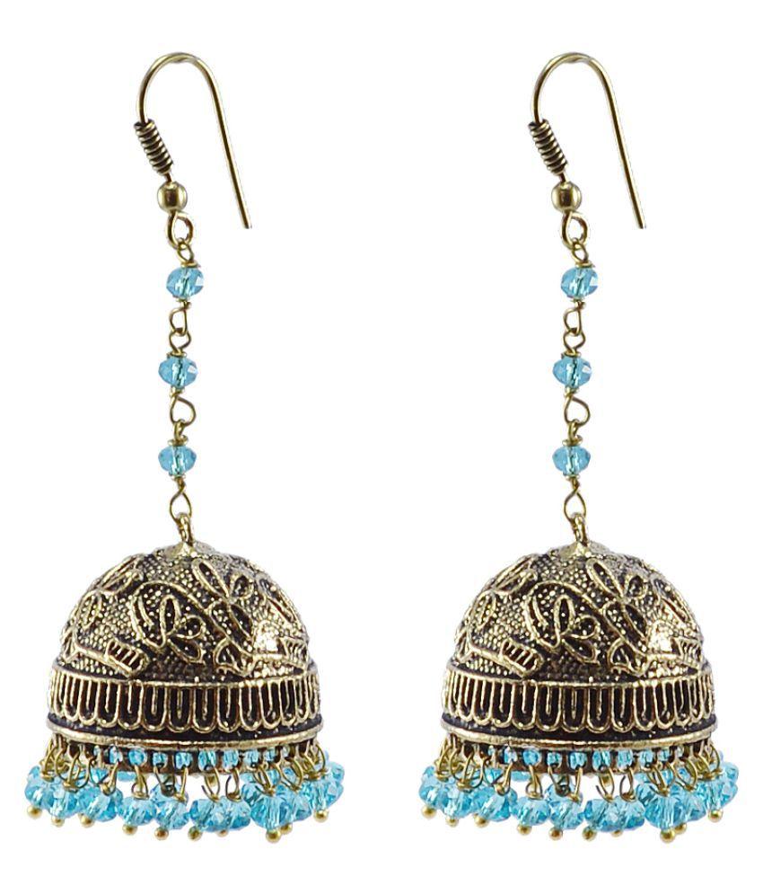Antique Oxidized Finish Traditional Style Jhumka-Blue Topaz Crystal Beads Jaipur Jewellery-Silvesto India PG-104447