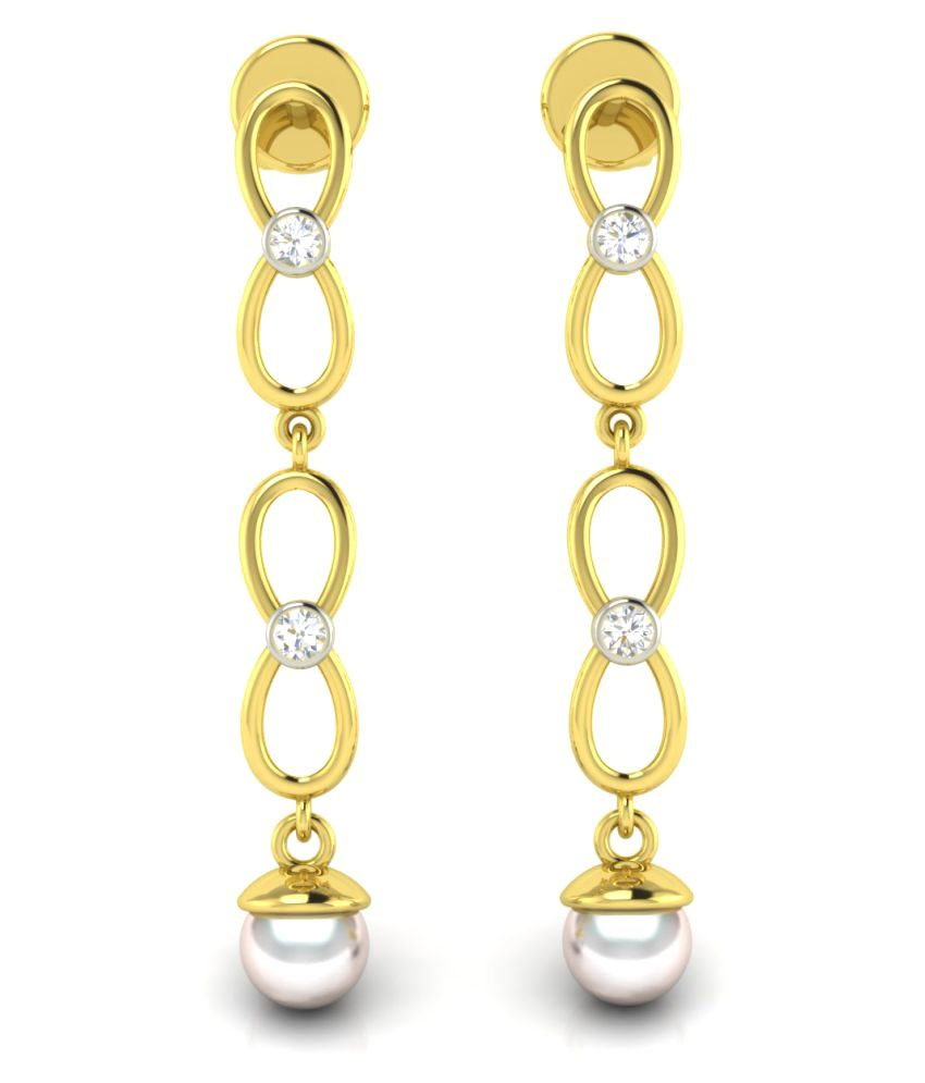Avsar 18k BIS Hallmarked Gold Diamond Hangings