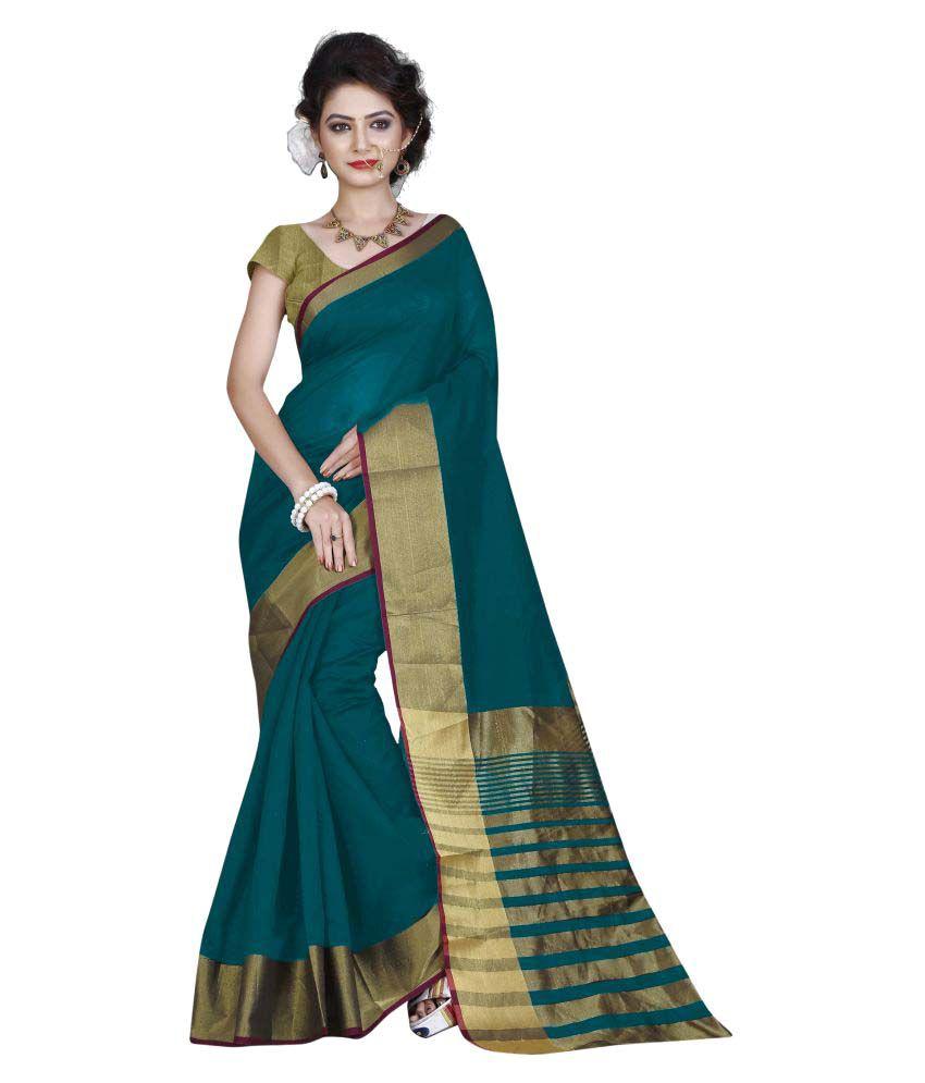 Radiance Star Blue Cotton Silk Saree