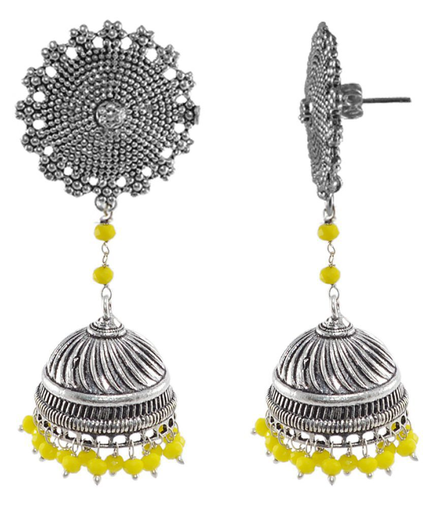 Yellow Crystal And Floral Jhumki Earrings-Bohemian Jewellery Silvesto India PG-104833