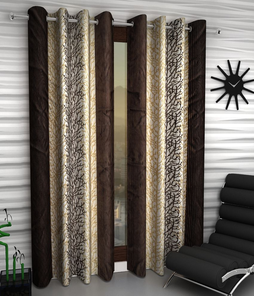 Home Sizzler Brown Abstract Polyester Window Curtain Buy 2