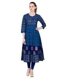 Zoeyam's Blue Cotton Anarkali Kurti