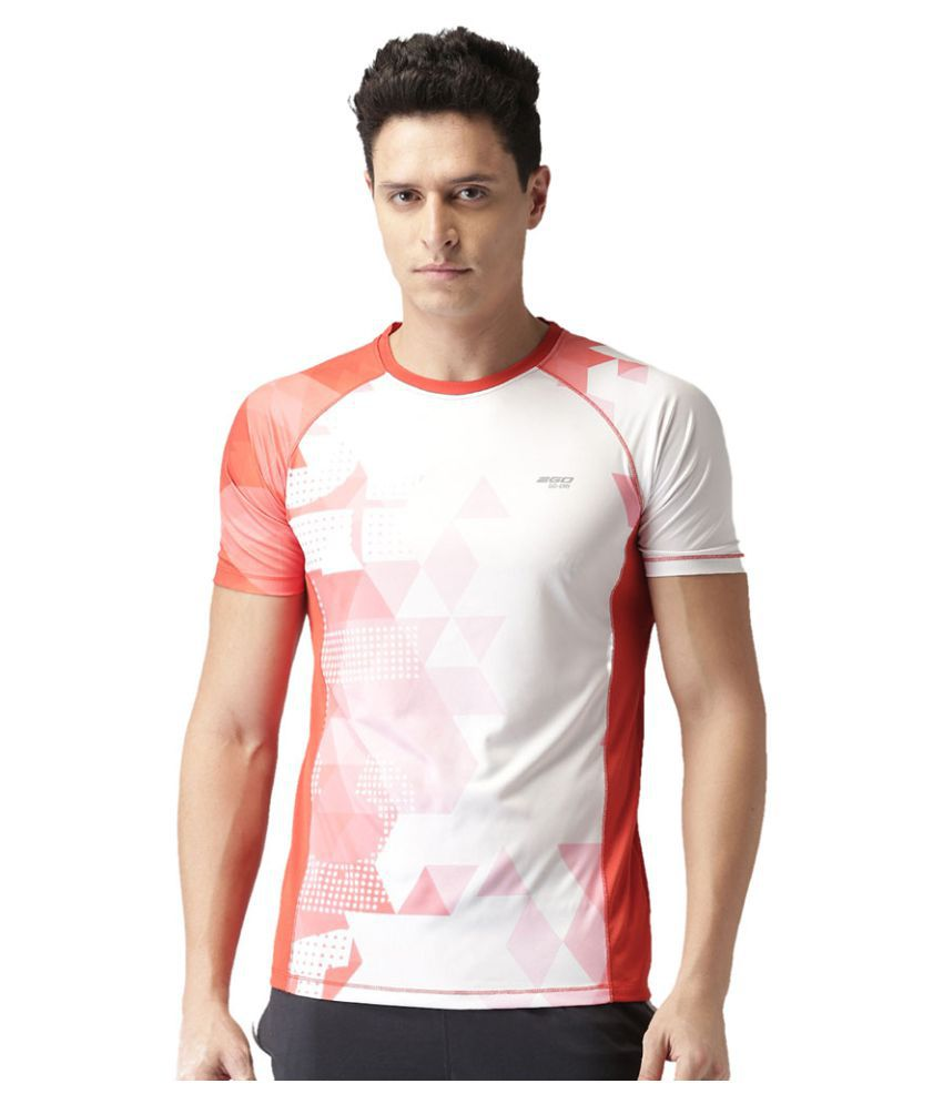 2GO Orange Print Half sleeves T-shirt