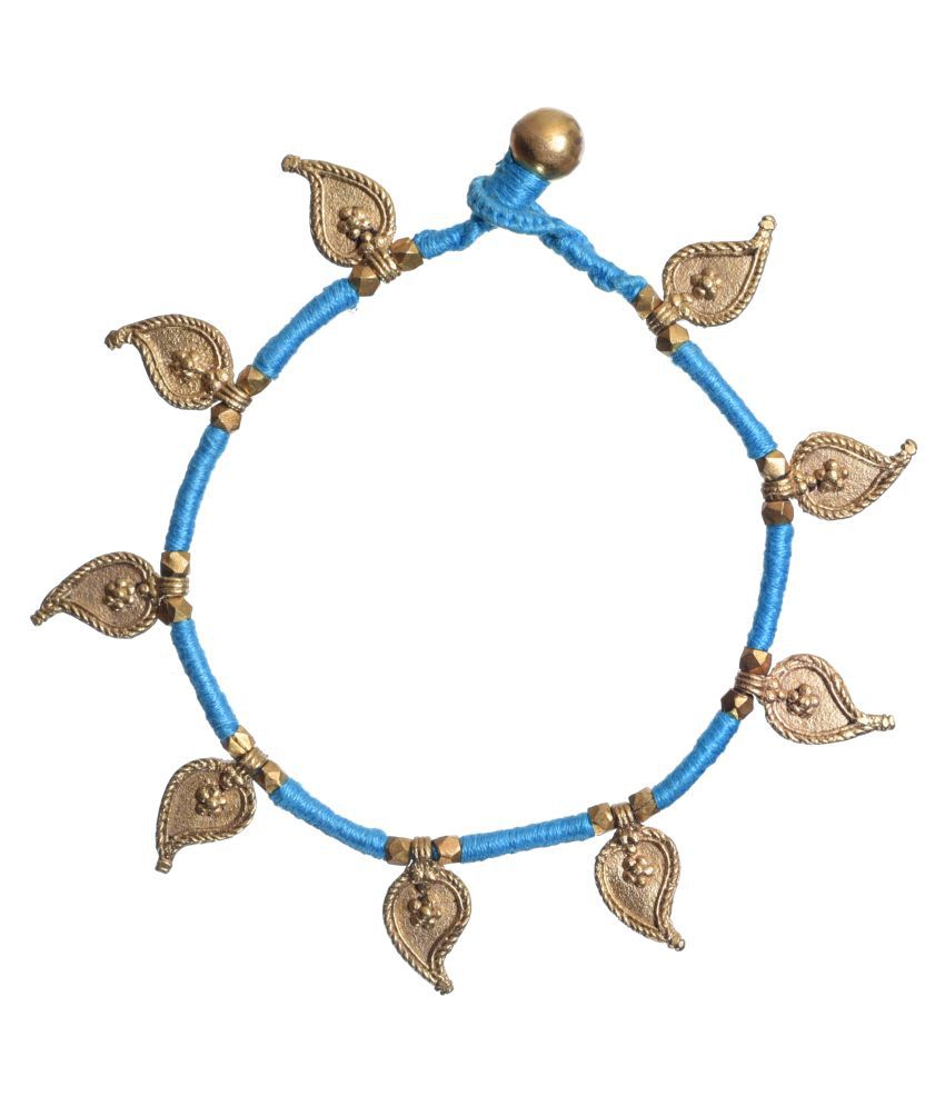 Unravel India Dhokra Blue Anklet