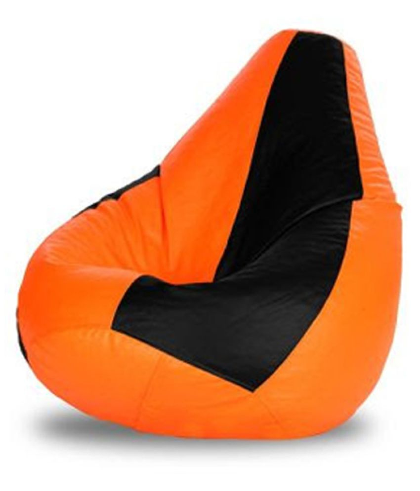 Sultaan Rexine Leather Black Amp Orange Bean Bag Cover