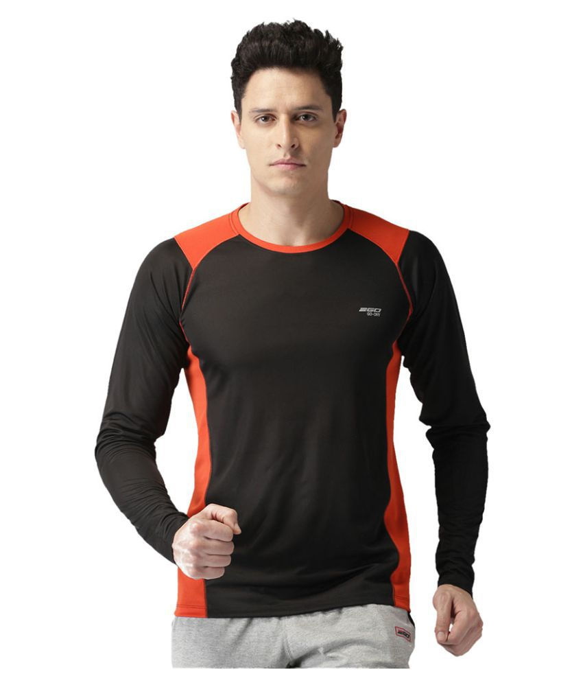 2GO Bold Black GO Dry Round neck Full sleeves  Performance T-Shirt