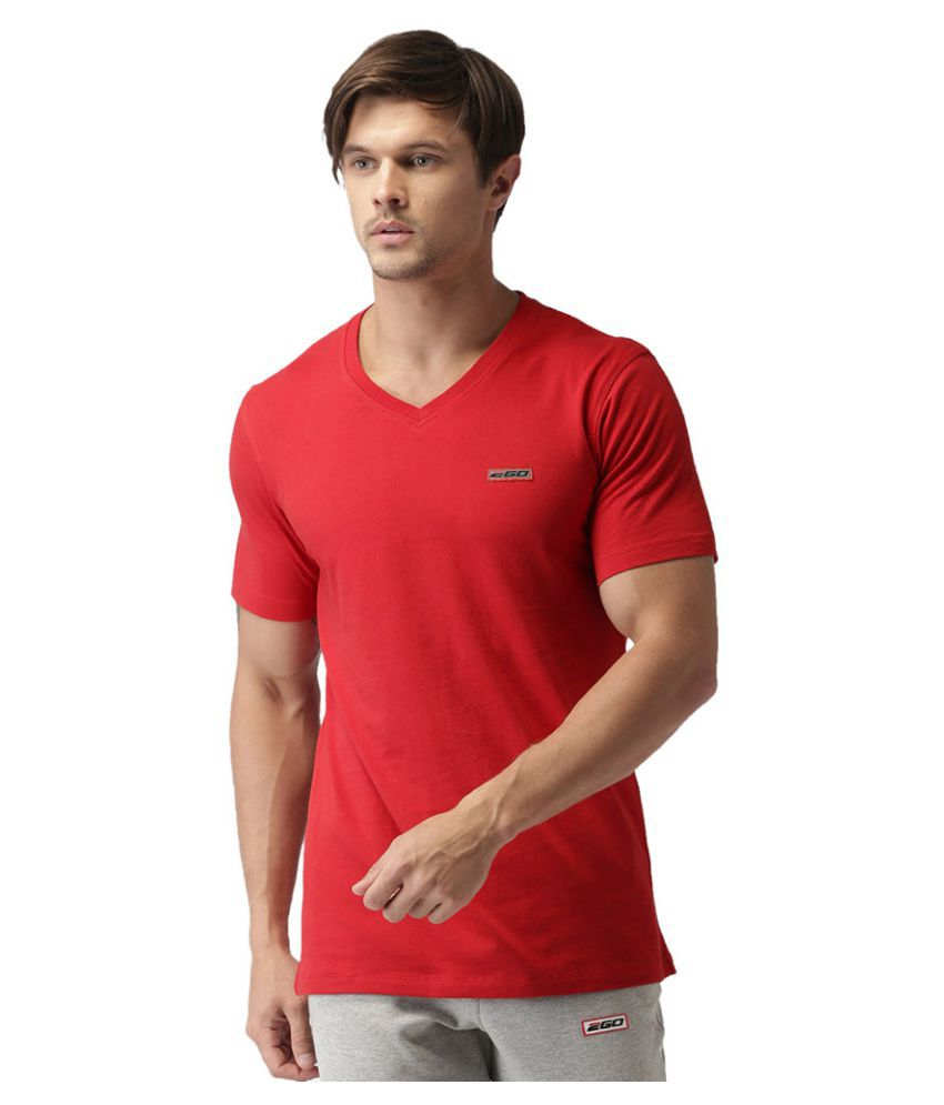 2GO Cardio Red Half sleeves V-Neck T-shirt