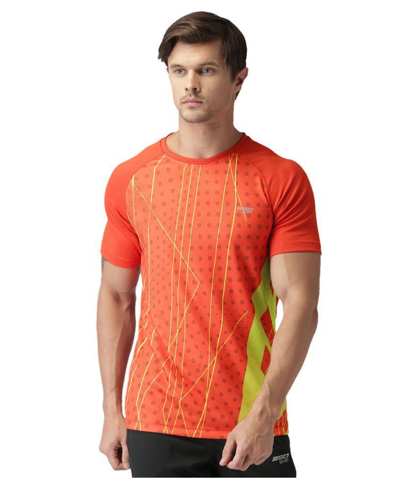 2GO Orange Print 2GO Running Round Neck Half sleeves T-Shirt
