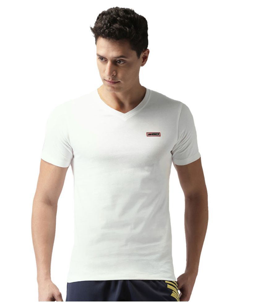 2GO Pace White Half sleeves V-Neck T-shirt