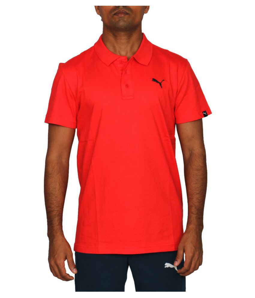 PUMA MENS ESS JERSEY POLO RED T-SHIRT
