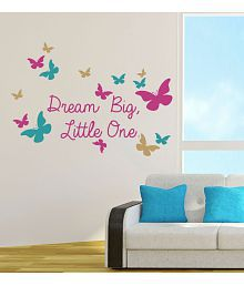 NewWayDecals Motivational Quotes And Multicolour Butterflies Vinyl Multicolour Wall Sticker - Pack Of 1