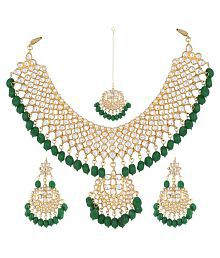 Aradhya Green Stone Beads Non-Precious Metal White Choker Necklace With Earrings Set For Women